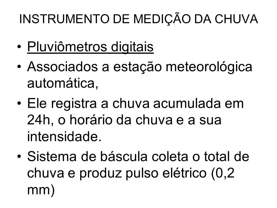 INSTRUMENTO DE MEDIÇÃO DA CHUVA Pluviômetros digitais Associados a estação meteorológica automática, Ele registra a chuva acumulada em 24h, o horário
