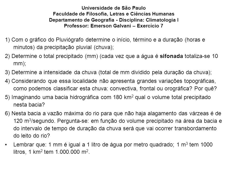 Universidade de São Paulo Faculdade de Filosofia, Letras e Ciências Humanas Departamento de Geografia - Disciplina: Climatologia I Professor: Emerson