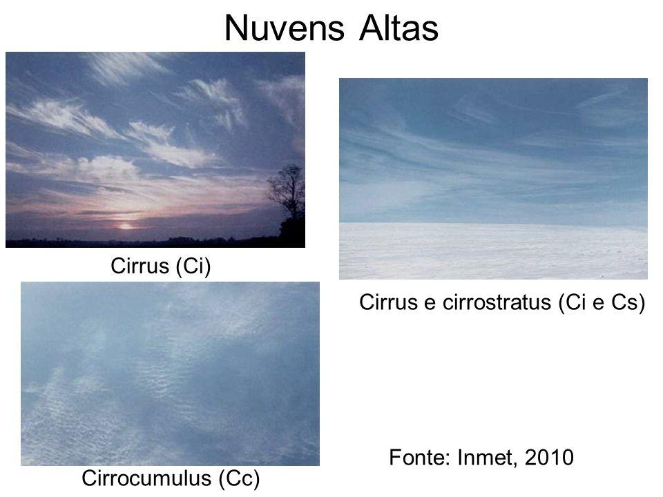 Nuvens Altas Cirrus e cirrostratus (Ci e Cs) Cirrus (Ci) Cirrocumulus (Cc) Fonte: Inmet, 2010