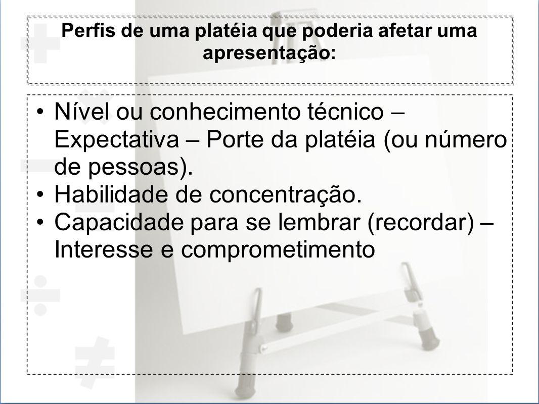 Perfis de uma platéia que poderia afetar uma apresentação: Nível ou conhecimento técnico – Expectativa – Porte da platéia (ou número de pessoas). Habi