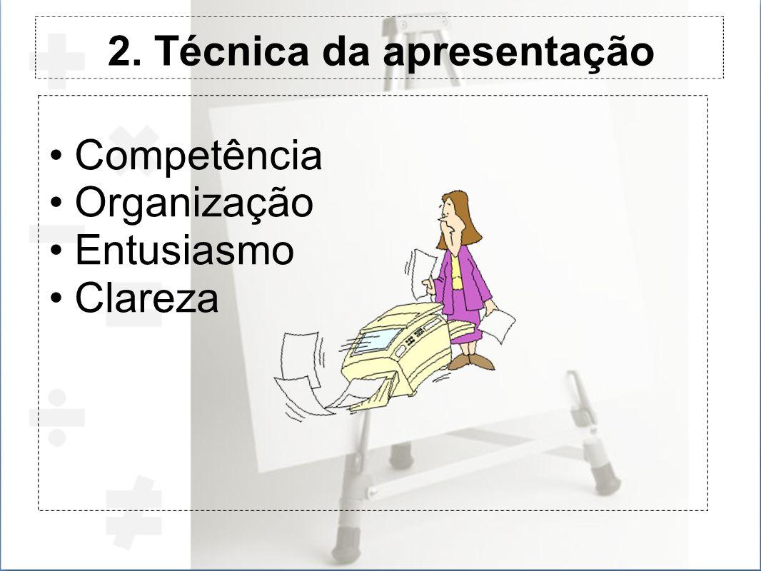 2. Técnica da apresentação Competência Organização Entusiasmo Clareza