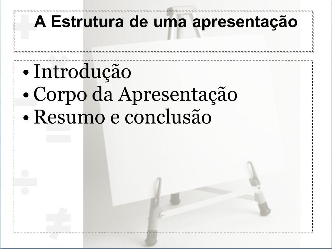 A Estrutura de uma apresentação Introdução Corpo da Apresentação Resumo e conclusão