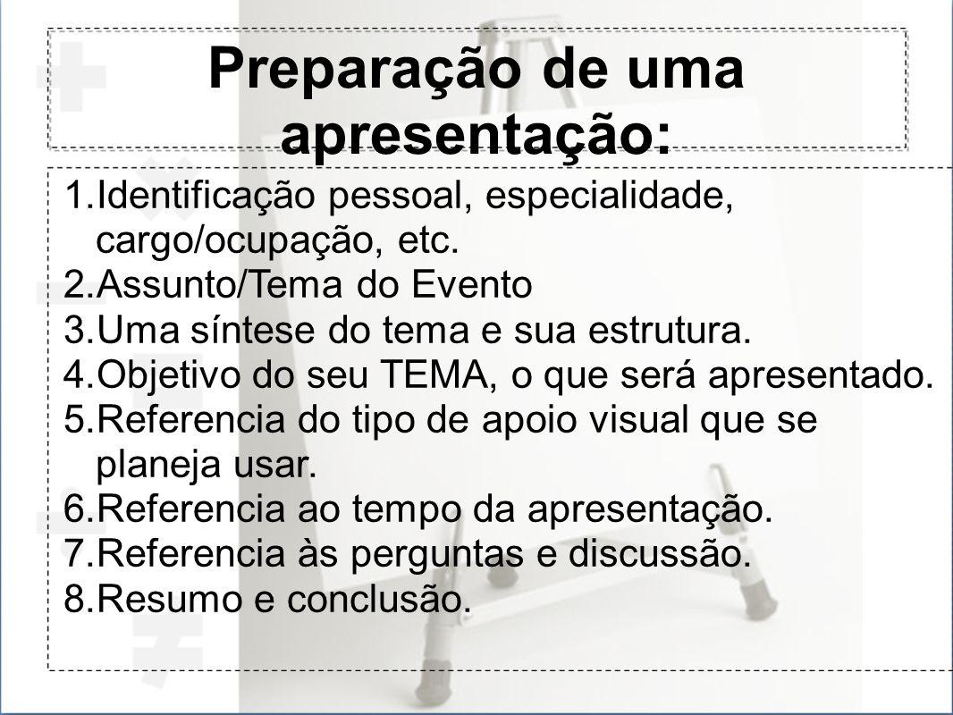 Preparação de uma apresentação: 1.Identificação pessoal, especialidade, cargo/ocupação, etc. 2.Assunto/Tema do Evento 3.Uma síntese do tema e sua estr