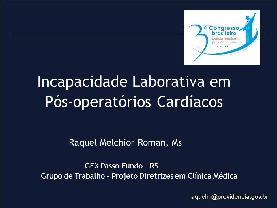 Incapacidade Laborativa em Pós-operatórios Cardíacos Raquel Melchior Roman, Ms GEX Passo Fundo – RS Grupo de Trabalho – Projeto Diretrizes em Clínica