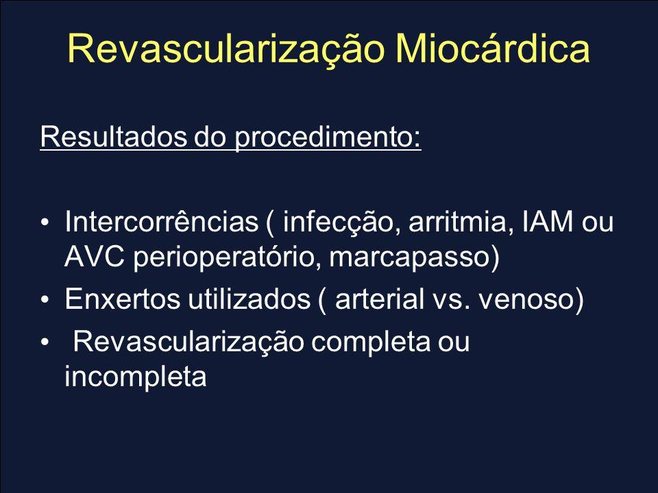 Revascularização Miocárdica Resultados tardios: Progressão da Aterosclerose: controle fatores de risco Comorbidades (Diabete, DPOC, IRC) Disfunção Ventricular Seguimento pós-alta: Assintomáticos: Teste ergométrico em 6-12 meses para avaliar capacidade funcional Sintomáticos: I nvestigar causa cardíaca ( cintilografia ou eco estresse – local e extensão da isquemia ) Arq Bras Cardiol 2004; 82(V): 1-21