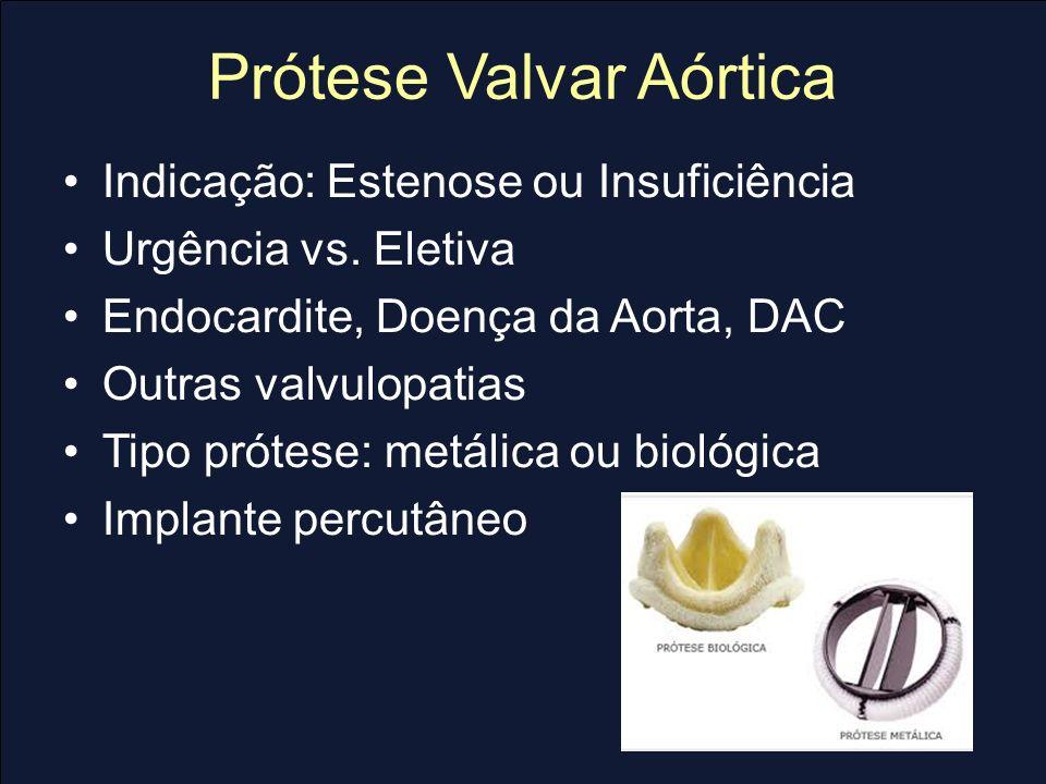 Prótese Valvar Aórtica Indicação: Estenose ou Insuficiência Urgência vs. Eletiva Endocardite, Doença da Aorta, DAC Outras valvulopatias Tipo prótese: