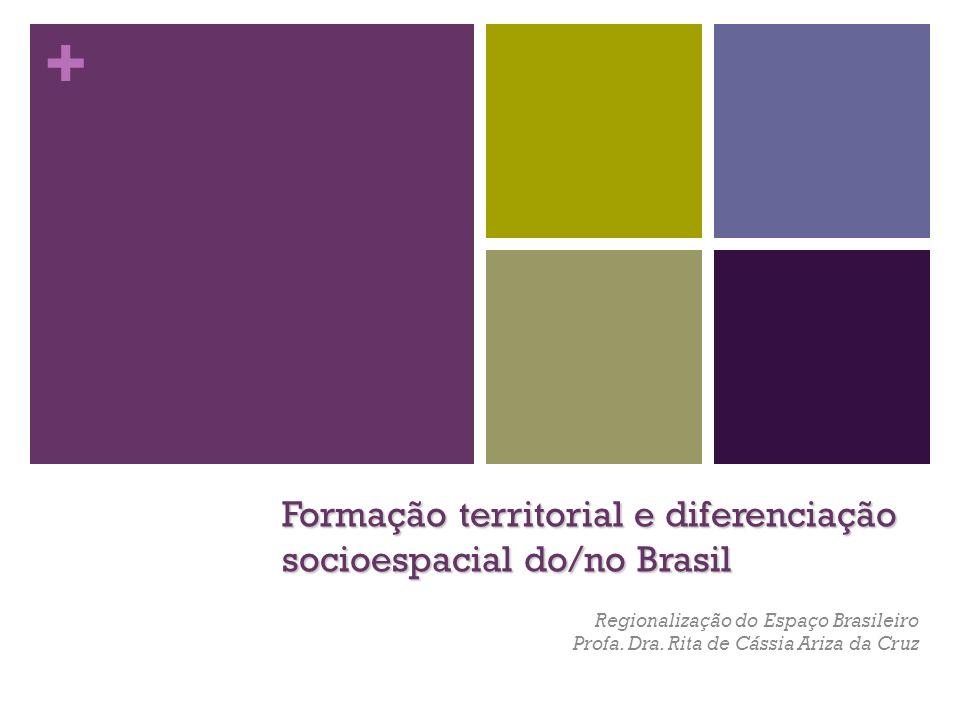 + Formação territorial e diferenciação socioespacial do/no Brasil Regionalização do Espaço Brasileiro Profa. Dra. Rita de Cássia Ariza da Cruz