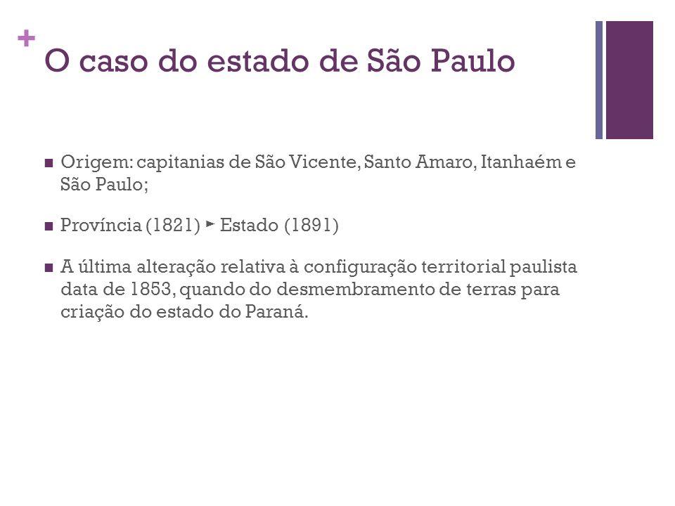 + O caso do estado de São Paulo Origem: capitanias de São Vicente, Santo Amaro, Itanhaém e São Paulo; Província (1821) Estado (1891) A última alteraçã