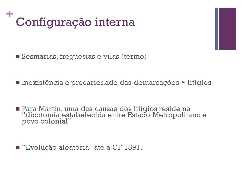 + Configuração interna Sesmarias, freguesias e vilas (termo) Inexistência e precariedade das demarcações litígios Para Martin, uma das causas dos lití
