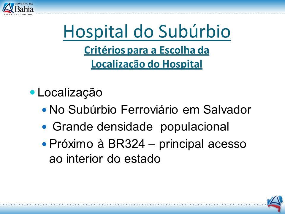 Hospital do Subúrbio - HS Localização Salvador - Bahia O terreno destinado à implantação do Hospital do Subúrbio localiza-se no bairro de Periperi.