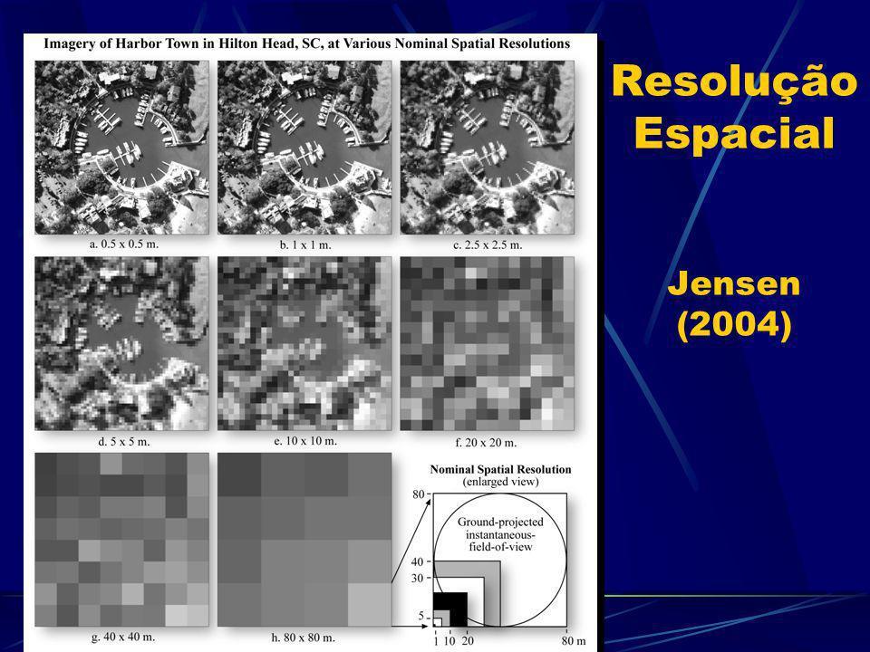 Resolução Espacial A resolução espacial é definida pelo IFOV e pela altitude do satélite Refere-se ao: tamanho total da área imageada tamanho do ERT D