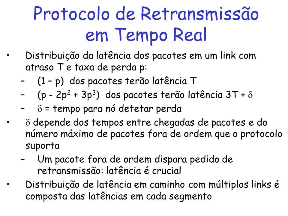 Protocolo de Retransmissão em Tempo Real Distribuição da latência dos pacotes em um link com atraso T e taxa de perda p: –(1 – p) dos pacotes terão latência T –(p - 2p 2 + 3p 3 ) dos pacotes terão latência 3T + – = tempo para nó detetar perda depende dos tempos entre chegadas de pacotes e do número máximo de pacotes fora de ordem que o protocolo suporta –Um pacote fora de ordem dispara pedido de retransmissão: latência é crucial Distribuição de latência em caminho com múltiplos links é composta das latências em cada segmento