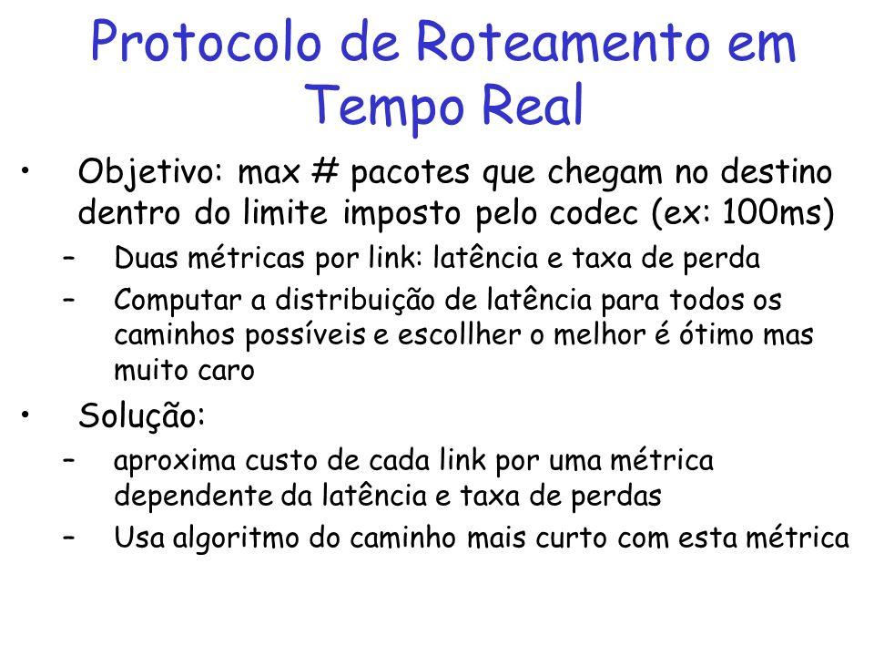 Protocolo de Roteamento em Tempo Real Objetivo: max # pacotes que chegam no destino dentro do limite imposto pelo codec (ex: 100ms) –Duas métricas por