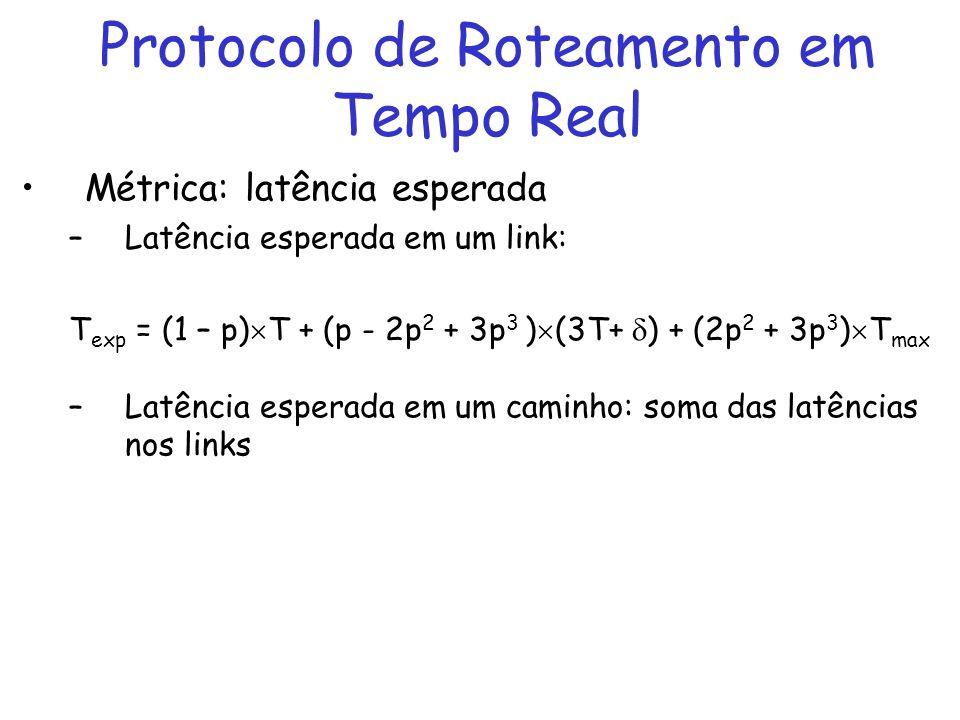 Protocolo de Roteamento em Tempo Real Métrica: latência esperada –Latência esperada em um link: T exp = (1 – p) T + (p - 2p 2 + 3p 3 ) (3T+ ) + (2p 2 + 3p 3 ) T max –Latência esperada em um caminho: soma das latências nos links