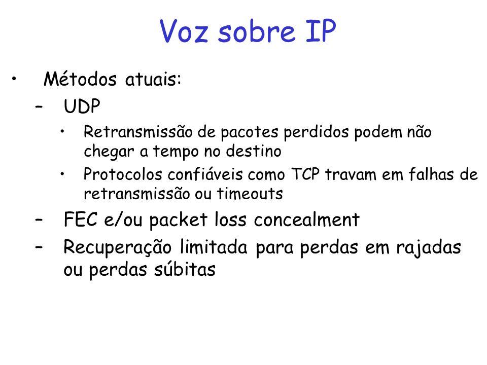 Voz sobre IP Métodos atuais: –UDP Retransmissão de pacotes perdidos podem não chegar a tempo no destino Protocolos confiáveis como TCP travam em falhas de retransmissão ou timeouts –FEC e/ou packet loss concealment –Recuperação limitada para perdas em rajadas ou perdas súbitas