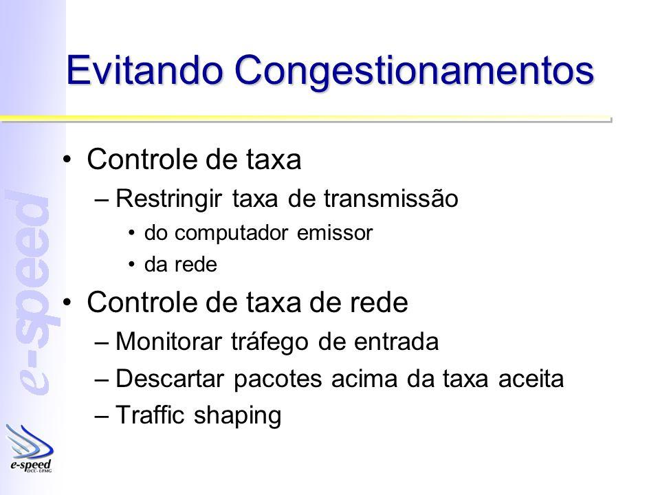 Evitando Congestionamentos Controle de taxa –Restringir taxa de transmissão do computador emissor da rede Controle de taxa de rede –Monitorar tráfego de entrada –Descartar pacotes acima da taxa aceita –Traffic shaping