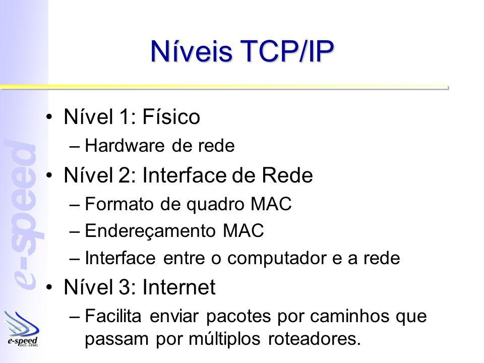 Níveis TCP/IP Nível 1: Físico –Hardware de rede Nível 2: Interface de Rede –Formato de quadro MAC –Endereçamento MAC –Interface entre o computador e a rede Nível 3: Internet –Facilita enviar pacotes por caminhos que passam por múltiplos roteadores.