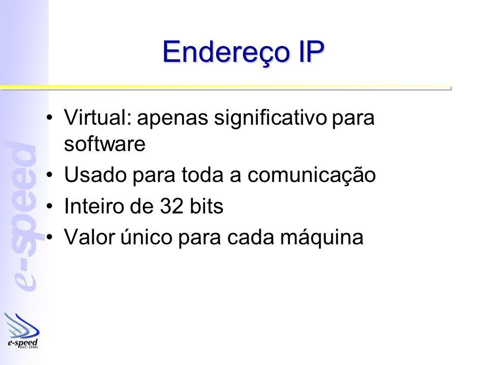 Endereço IP Virtual: apenas significativo para software Usado para toda a comunicação Inteiro de 32 bits Valor único para cada máquina