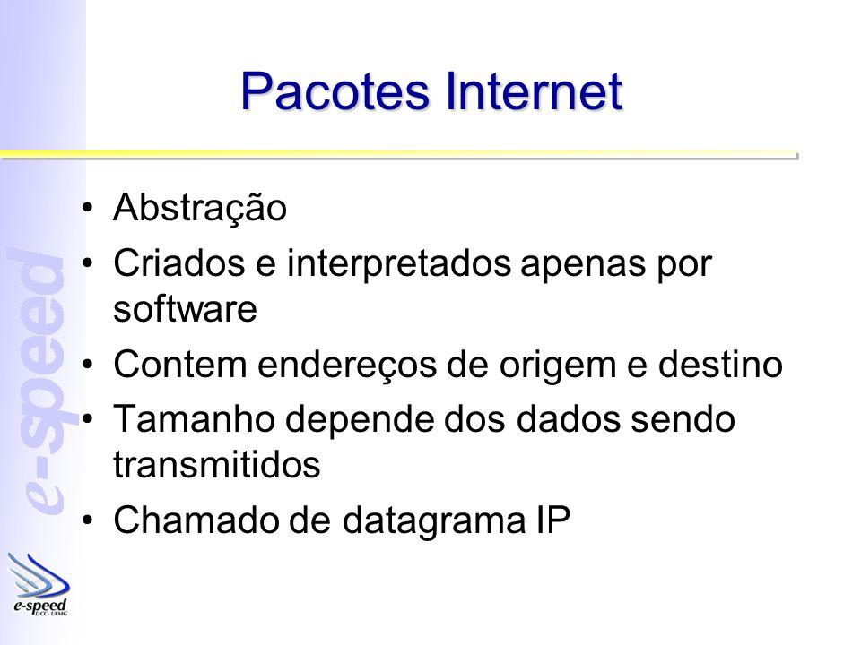 Pacotes Internet Abstração Criados e interpretados apenas por software Contem endereços de origem e destino Tamanho depende dos dados sendo transmitidos Chamado de datagrama IP