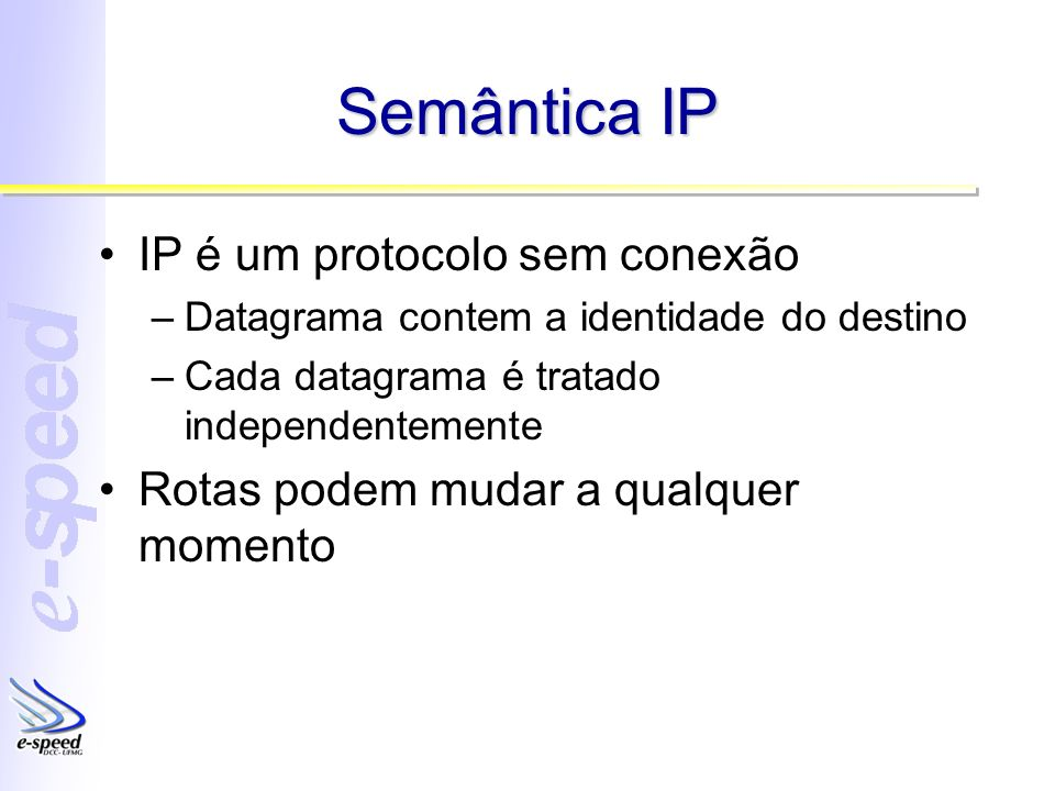 Semântica IP IP é um protocolo sem conexão –Datagrama contem a identidade do destino –Cada datagrama é tratado independentemente Rotas podem mudar a qualquer momento