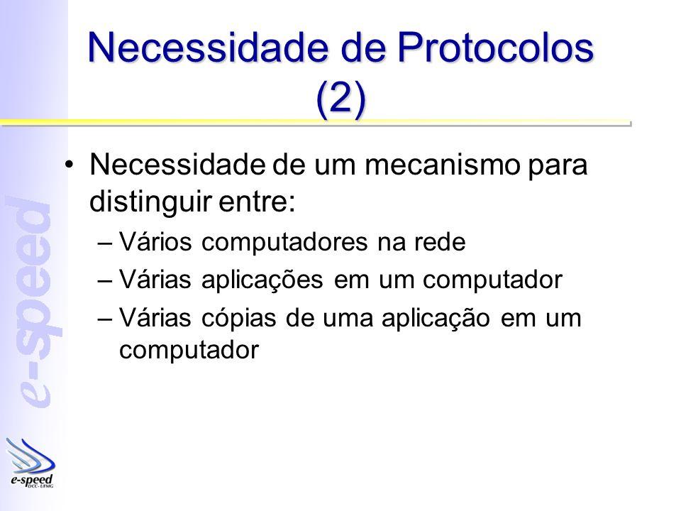 Necessidade de Protocolos (2) Necessidade de um mecanismo para distinguir entre: –Vários computadores na rede –Várias aplicações em um computador –Várias cópias de uma aplicação em um computador