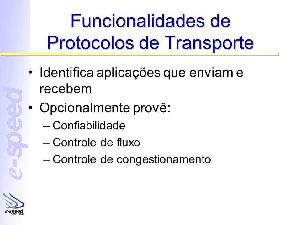Funcionalidades de Protocolos de Transporte Identifica aplicações que enviam e recebem Opcionalmente provê: –Confiabilidade –Controle de fluxo –Controle de congestionamento