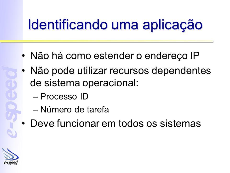 Identificando uma aplicação Não há como estender o endereço IP Não pode utilizar recursos dependentes de sistema operacional: –Processo ID –Número de tarefa Deve funcionar em todos os sistemas