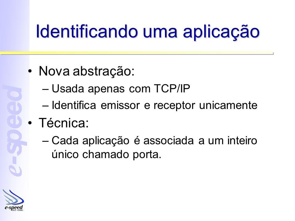 Identificando uma aplicação Nova abstração: –Usada apenas com TCP/IP –Identifica emissor e receptor unicamente Técnica: –Cada aplicação é associada a um inteiro único chamado porta.