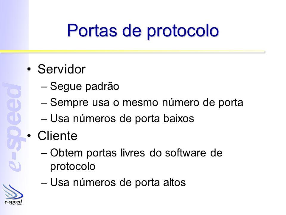 Portas de protocolo Servidor –Segue padrão –Sempre usa o mesmo número de porta –Usa números de porta baixos Cliente –Obtem portas livres do software de protocolo –Usa números de porta altos