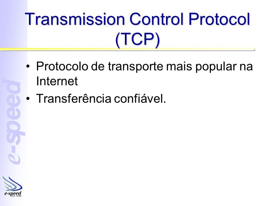Transmission Control Protocol (TCP) Protocolo de transporte mais popular na Internet Transferência confiável.