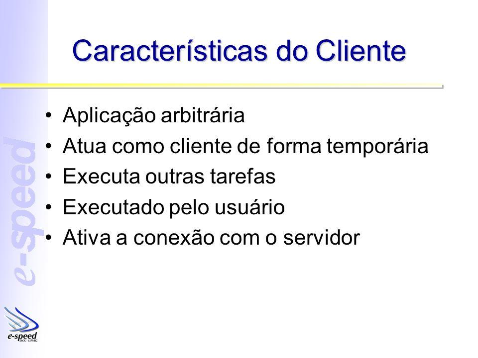 Características do Cliente Aplicação arbitrária Atua como cliente de forma temporária Executa outras tarefas Executado pelo usuário Ativa a conexão com o servidor
