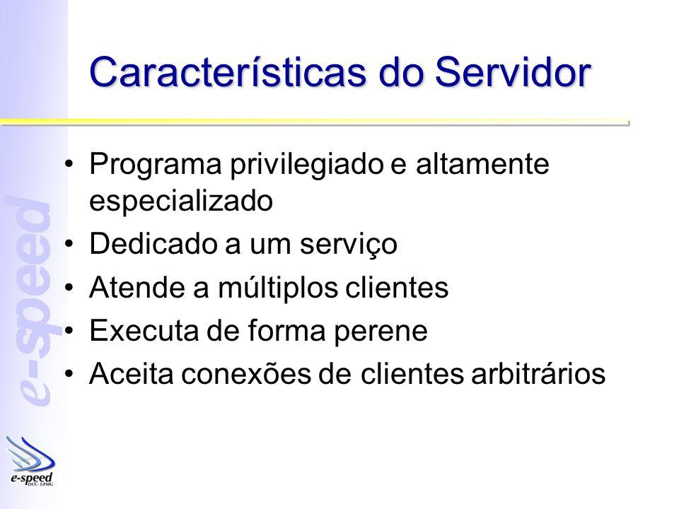 Características do Servidor Programa privilegiado e altamente especializado Dedicado a um serviço Atende a múltiplos clientes Executa de forma perene Aceita conexões de clientes arbitrários