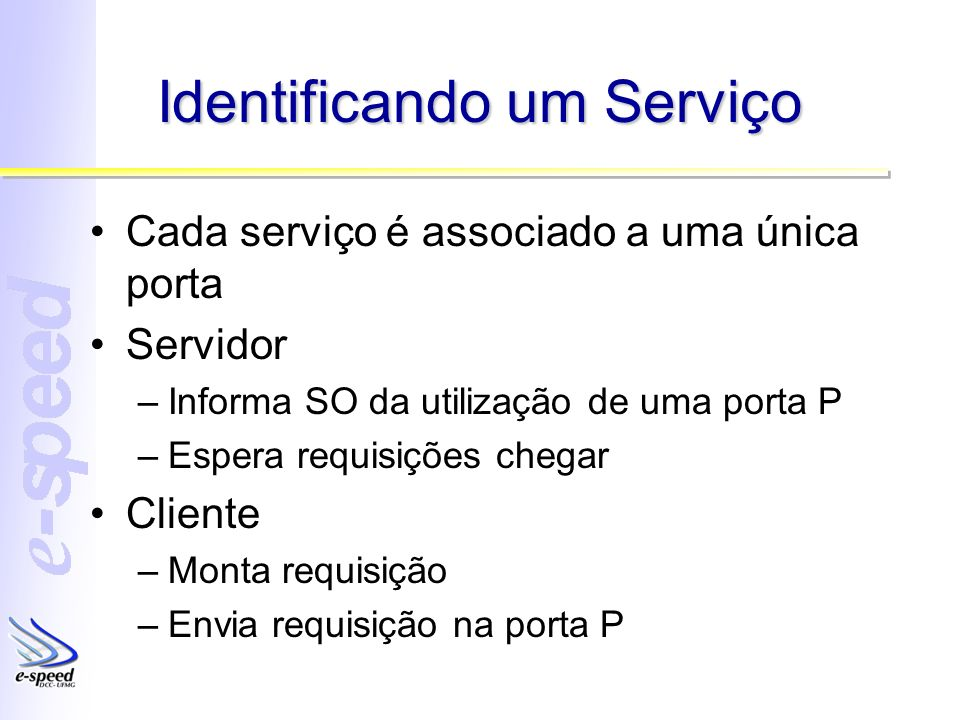 Identificando um Serviço Cada serviço é associado a uma única porta Servidor –Informa SO da utilização de uma porta P –Espera requisições chegar Cliente –Monta requisição –Envia requisição na porta P
