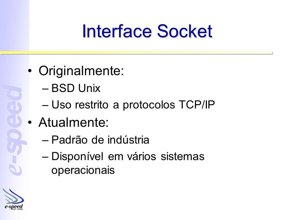Interface Socket Originalmente: –BSD Unix –Uso restrito a protocolos TCP/IP Atualmente: –Padrão de indústria –Disponível em vários sistemas operacionais