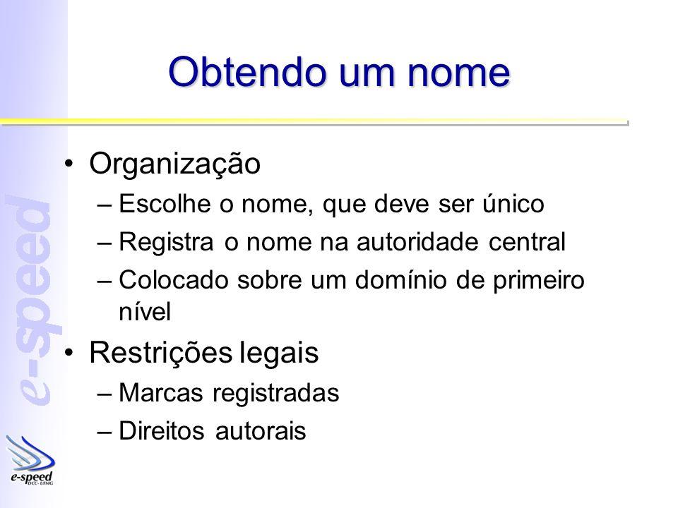 Obtendo um nome Organização –Escolhe o nome, que deve ser único –Registra o nome na autoridade central –Colocado sobre um domínio de primeiro nível Restrições legais –Marcas registradas –Direitos autorais