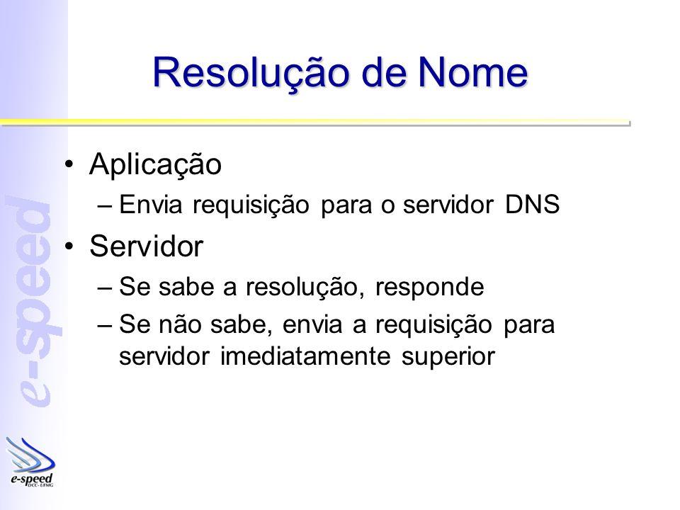 Resolução de Nome Aplicação –Envia requisição para o servidor DNS Servidor –Se sabe a resolução, responde –Se não sabe, envia a requisição para servidor imediatamente superior