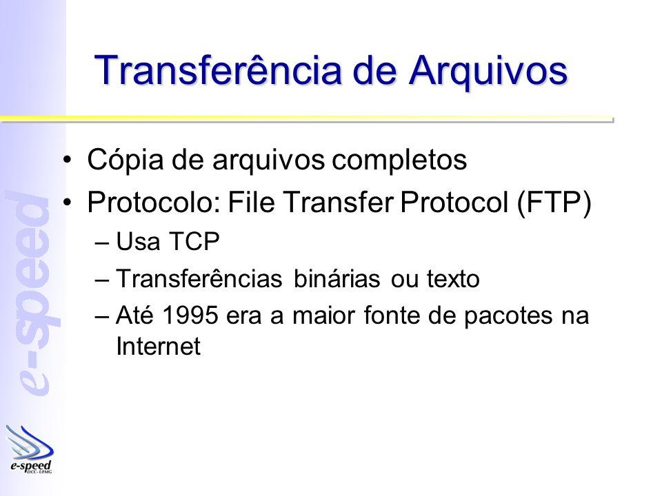 Transferência de Arquivos Cópia de arquivos completos Protocolo: File Transfer Protocol (FTP) –Usa TCP –Transferências binárias ou texto –Até 1995 era a maior fonte de pacotes na Internet