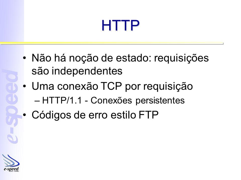 HTTP Não há noção de estado: requisições são independentes Uma conexão TCP por requisição –HTTP/1.1 - Conexões persistentes Códigos de erro estilo FTP