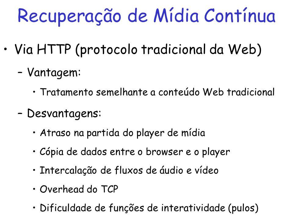 Recuperação de Mídia Contínua Via HTTP (protocolo tradicional da Web) –Vantagem: Tratamento semelhante a conteúdo Web tradicional –Desvantagens: Atras