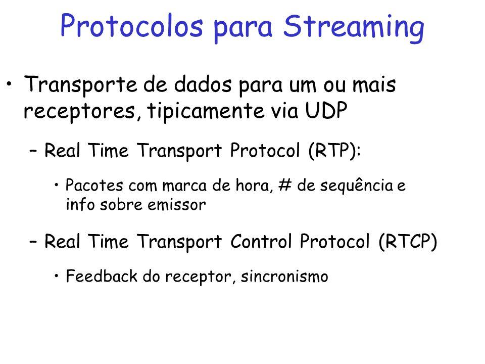 Protocolos para Streaming Transporte de dados para um ou mais receptores, tipicamente via UDP –Real Time Transport Protocol (RTP): Pacotes com marca d