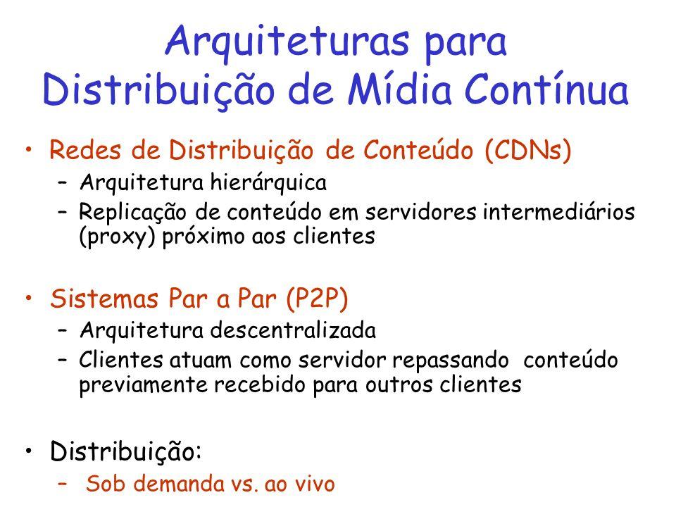 Arquiteturas para Distribuição de Mídia Contínua Redes de Distribuição de Conteúdo (CDNs) –Arquitetura hierárquica –Replicação de conteúdo em servidor