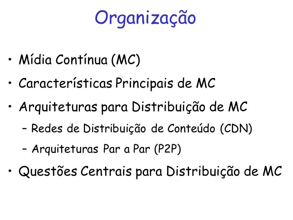 Organização Mídia Contínua (MC) Características Principais de MC Arquiteturas para Distribuição de MC –Redes de Distribuição de Conteúdo (CDN) –Arquit