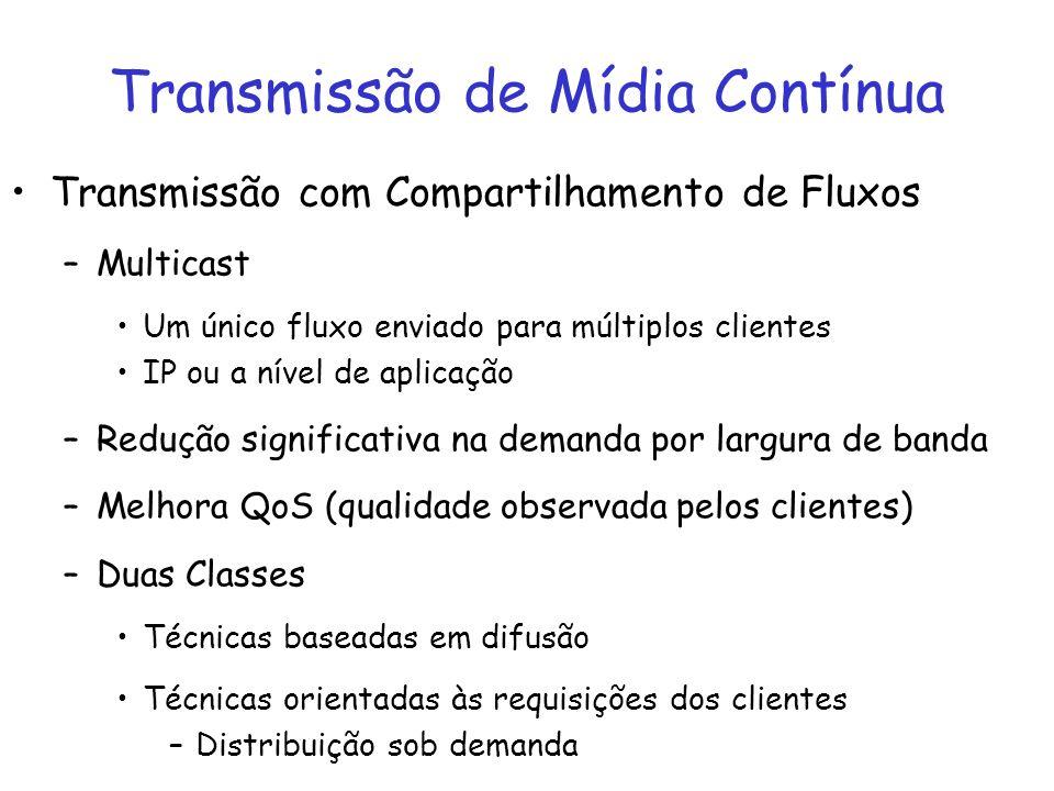 Transmissão com Compartilhamento de Fluxos –Multicast Um único fluxo enviado para múltiplos clientes IP ou a nível de aplicação –Redução significativa
