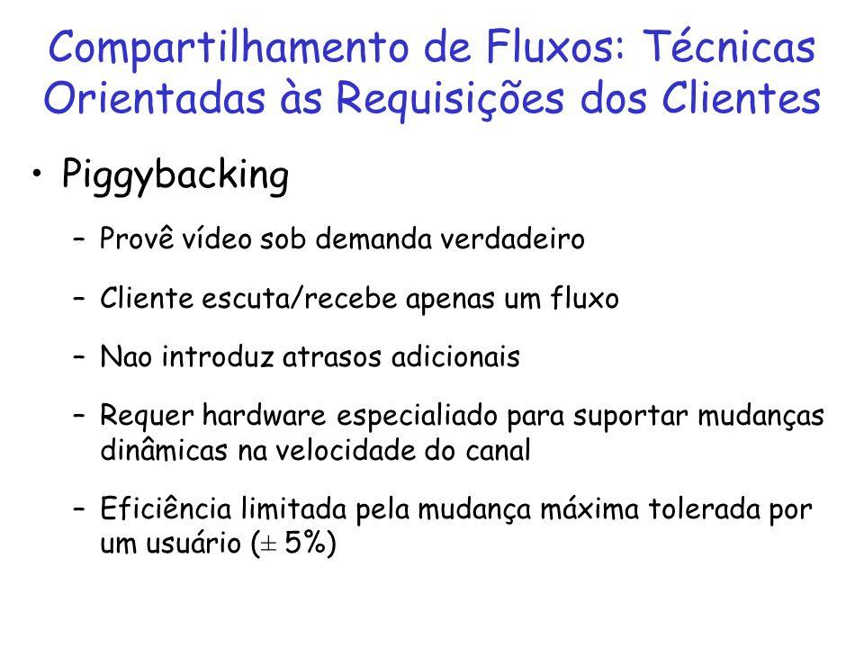Compartilhamento de Fluxos: Técnicas Orientadas às Requisições dos Clientes Piggybacking –Provê vídeo sob demanda verdadeiro –Cliente escuta/recebe ap