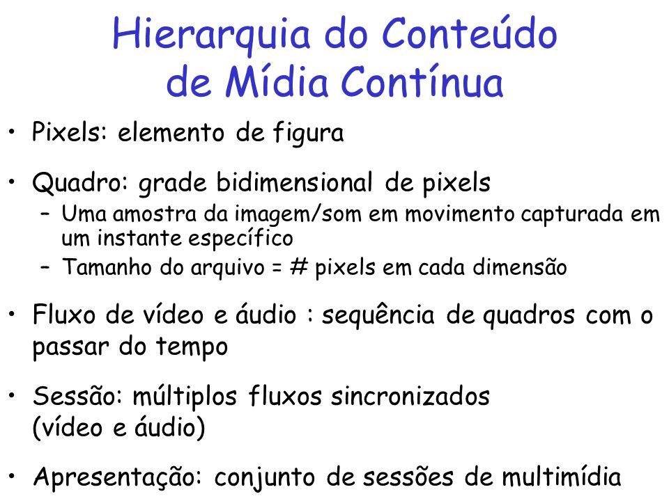 Hierarquia do Conteúdo de Mídia Contínua Pixels: elemento de figura Quadro: grade bidimensional de pixels –Uma amostra da imagem/som em movimento capt