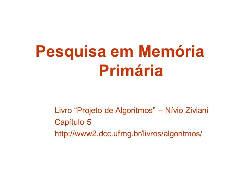 Pesquisa em Memória Primária Livro Projeto de Algoritmos – Nívio Ziviani Capítulo 5 http://www2.dcc.ufmg.br/livros/algoritmos/