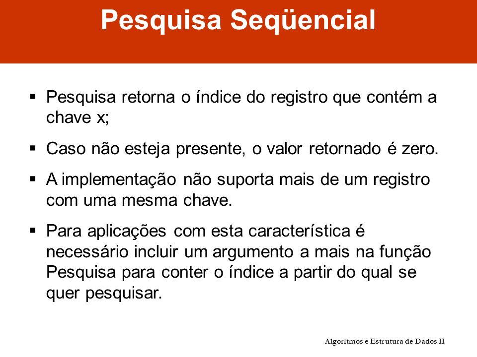 Algoritmos e Estrutura de Dados II Pesquisa Seqüencial Pesquisa retorna o índice do registro que contém a chave x; Caso não esteja presente, o valor retornado é zero.