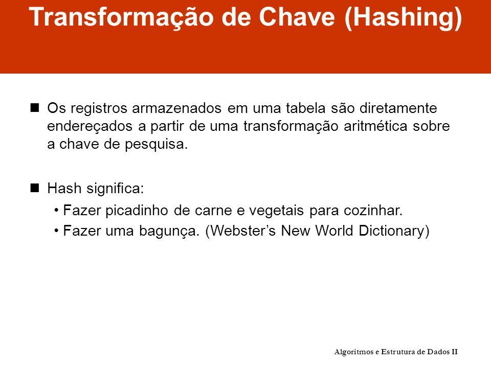 Transformação de Chave (Hashing) Os registros armazenados em uma tabela são diretamente endereçados a partir de uma transformação aritmética sobre a chave de pesquisa.
