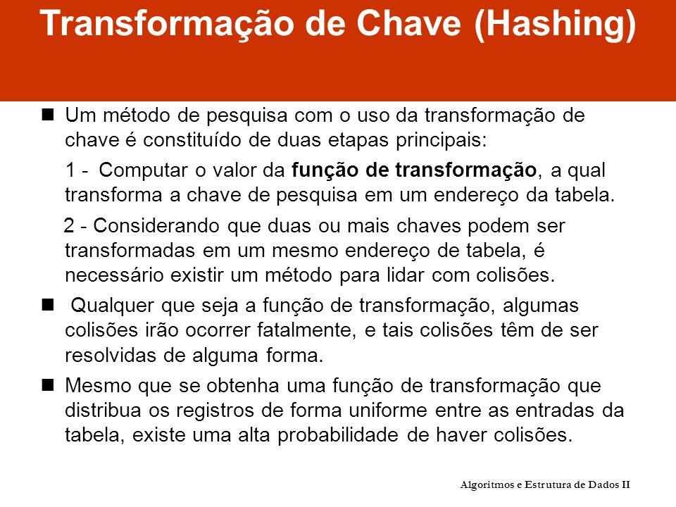 Transformação de Chave (Hashing) Um método de pesquisa com o uso da transformação de chave é constituído de duas etapas principais: 1 - Computar o valor da função de transformação, a qual transforma a chave de pesquisa em um endereço da tabela.