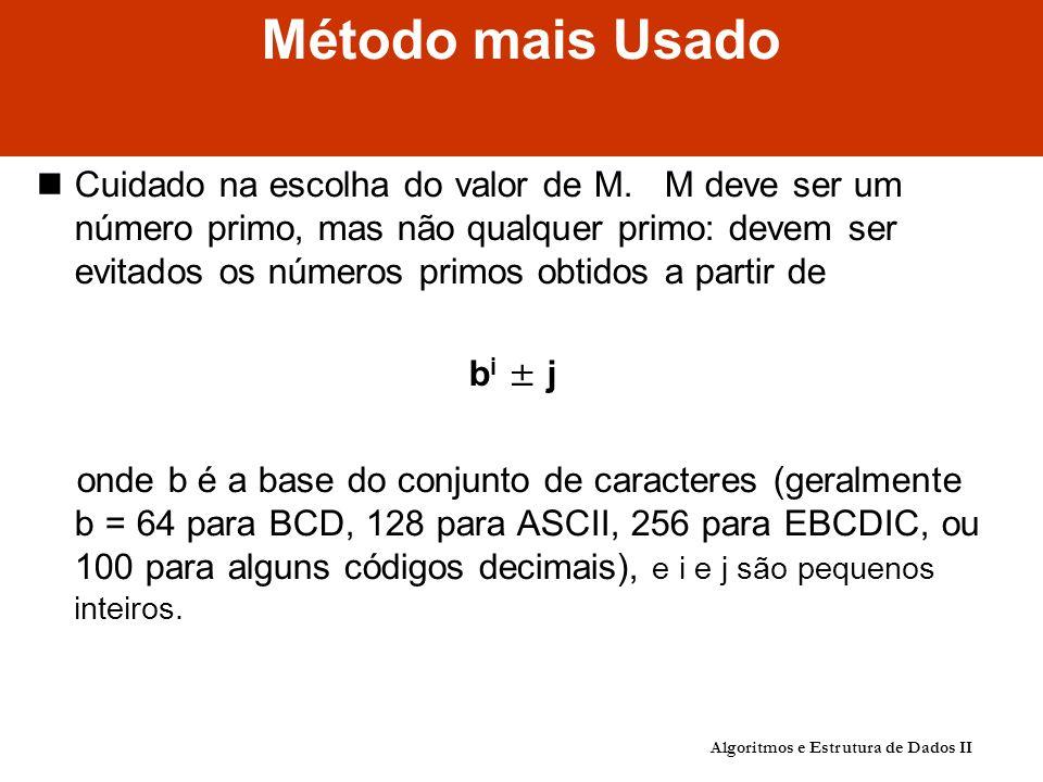 Método mais Usado Cuidado na escolha do valor de M.